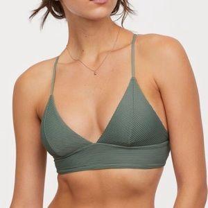 H&M olive green bikini top US14 NWT